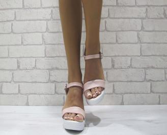 Дамски сандали на платформа еко кожа пудра TBGC-24419