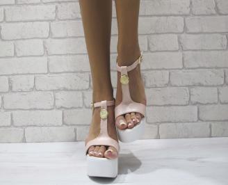 Дамски сандали на платформа еко кожа пудра ACNY-24421