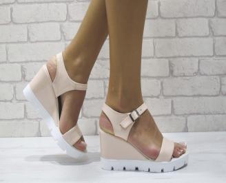 Дамски сандали на платформа еко кожа пудра XYUC-24425