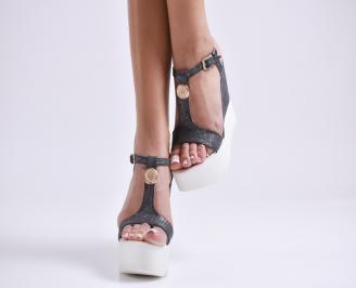 Дамски сандали на платформа еко кожа черни NXLR-24429