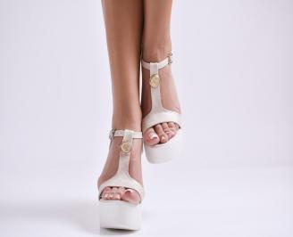 Дамски сандали на платформа еко кожа бежови BTBB-24430