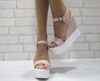 Дамски сандали на платформа еко кожа пудра ZZIX-24431