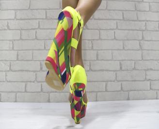 Дамски сандали на платформа еко кожа/лак,текстил зелени JKRO-24458