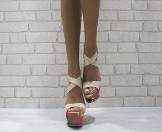 Дамски сандали на платформа еко кожа/лак,текстил бежови GXTS-24460