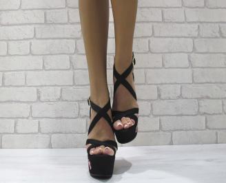 Дамски сандали на платформа текстил черни OKZP-24461