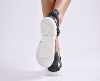 Дамски сандали на платформа естествена кожа черни JFBI-24469