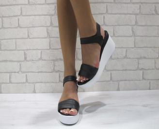 Дамски сандали на платформа естествена кожа черни SWEX-24471