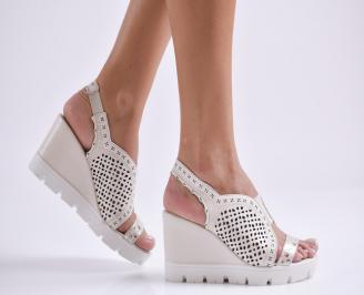 Дамски сандали на платформа естествена кожа бежови DTXE-24473