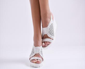 Дамски сандали на платформа естествена кожа бели CMKL-24479