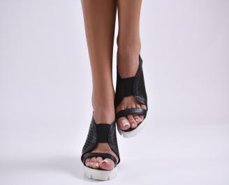 Дамски сандали на платформа естествена кожа черни KDAZ-24485
