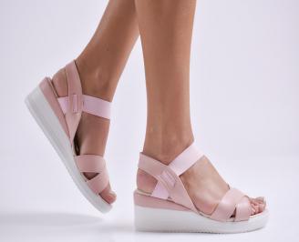 Дамски сандали на платформа еко кожа пудра IQTS-24598