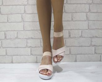 Дамски сандали на платформа еко кожа пудра YMSL-24600