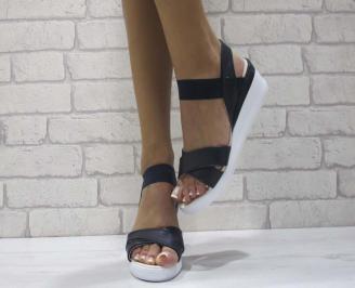 Дамски сандали на платформа еко кожа черни MVYW-24603
