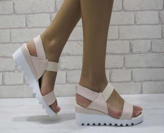 Дамски сандали на платформа еко кожа пудра ZXNF-24605