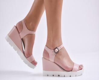 Дамски сандали на платформа естествена кожа пудра WNIZ-24698