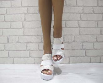Дамски сандали на платформа естествена кожа бяло/златисто PIJY-24749