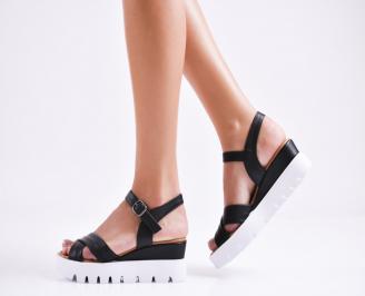 Дамски сандали на платформа естествена кожа черни YZHX-27274