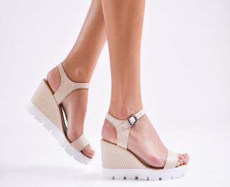 Дамски сандали на платформа естествена кожа бежови URVS-27277