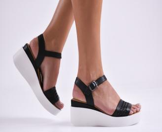 Дамски сандали на платформа естествена кожа черни HPVI-27280