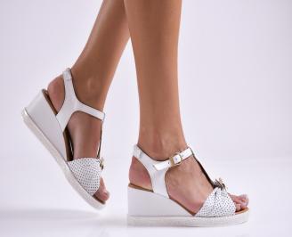 Дамски сандали на платформа естествена кожа бели JODC-27281