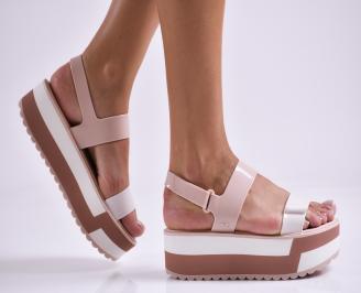 Дамски  сандали на платформа  пудра OFHZ-27326