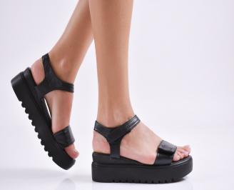 Дамски сандали на платформа естествена кожа черни SHRW-27339