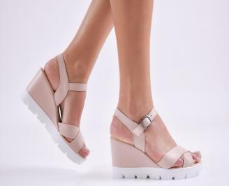 Дамски сандали на платформа естествена кожа пудра TNAA-27409