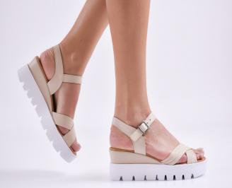 Дамски сандали на платформа естествена кожа бежови RLMA-27411