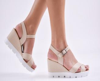 Дамски сандали на платформа естествена кожа бежови YCDX-27412