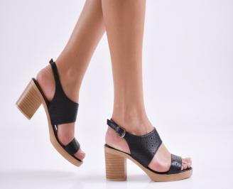 Дамски сандали на платформа естествена кожа черни AJXM-27413