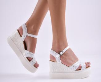 Дамски сандали на платформа естествена кожа бели QSIG-27414