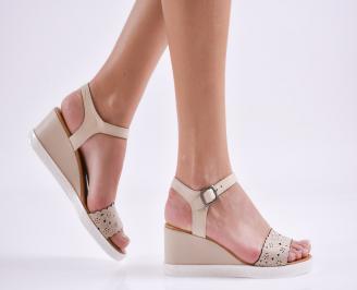 Дамски сандали на платформа естествена кожа бежови LVNV-27416
