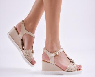 Дамски сандали на платформа естествена кожа бежови HYMG-27417