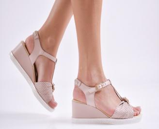 Дамски сандали на платформа естествена кожа пудра YPJO-27418