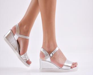 Дамски сандали на платформа естествена кожа сребристи MSVM-27419