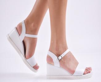 Дамски сандали на платформа естествена кожа бели RPZR-27420