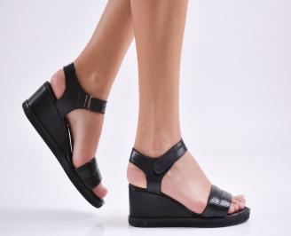 Дамски сандали на платформа естествена кожа черни RHGV-27421