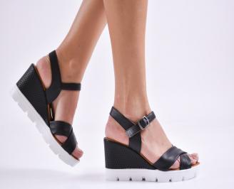 Дамски сандали на платформа естествена кожа черни OEDN-27446