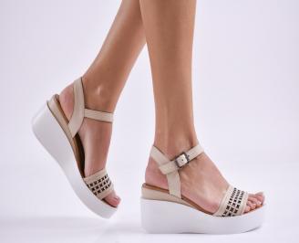 Дамски сандали на платформа естествена кожа  бежови NHOL-27448