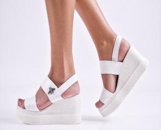Дамски сандали на платформа естествена кожа бели OQAF-27454