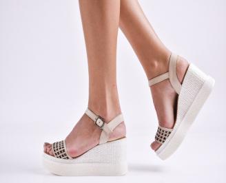 Дамски сандали на платформа естествена кожа  бежови BOIV-27459