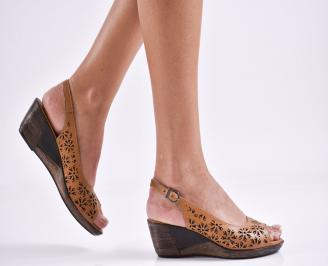 Дамски сандали на платформа естествена кожа кафяви TZYS-27462