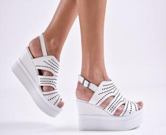 Дамски сандали на платформа естествена кожа бели PDZR-27469