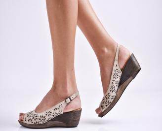 Дамски сандали на платформа естествена кожа  бежови PBFI-27470
