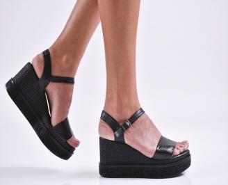 Дамски сандали на платформа естествена кожа черни RYUW-27471