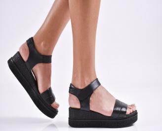 Дамски сандали на платформа естествена кожа черни OIJR-27472