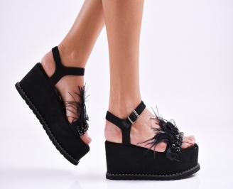 Дамски  сандали на платформа  еко кожа черни JAOM-27478