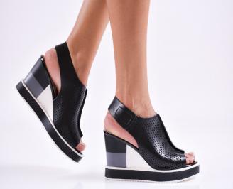 Дамски  сандали на платформа  еко кожа черни JBDB-27482
