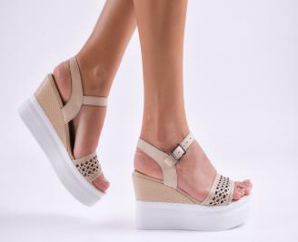 Дамски сандали на платформа естествена кожа  бежови OZDZ-27483