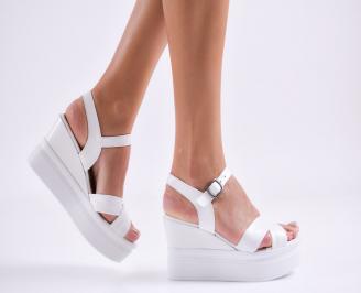 Дамски сандали на платформа естествена кожа бели JRBC-27484